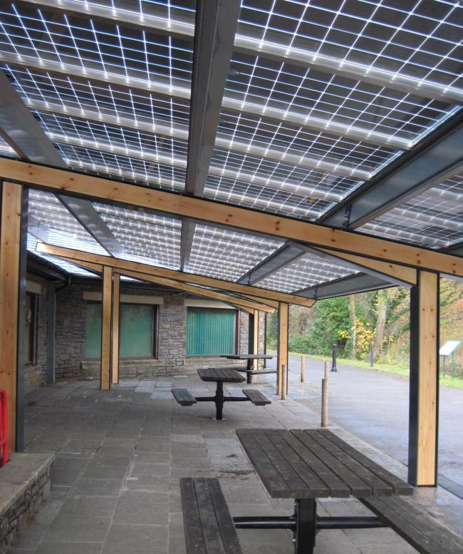 Solar panel roof at Gnoll Park, Neath