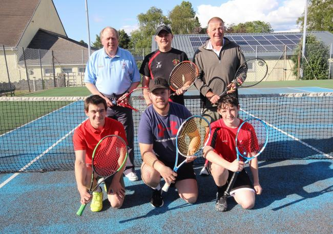 Llandybie Tennis Club Men's Team, who are Anthony Davies, captain Jonathan Thomas, Chris Gray, Sam Ewens, Rhydian Jones and Iestyn Davies.