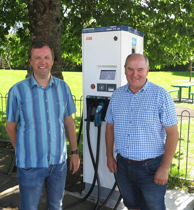 New Electric Vehicle Charging Point in Llandovery - Jonathan Edwards MP, with his Plaid Cymru colleague, Cllr. Handel Davies.