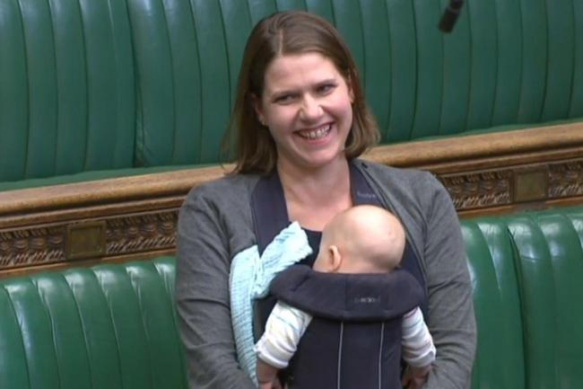 Jo Swinson with her baby in the Commons chamber