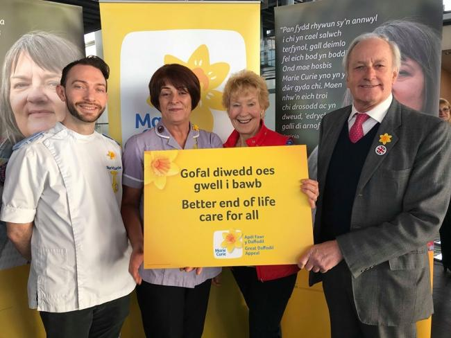 Neil Hamilton, AM for Mid & West Wales, with his wife Christine are pictured with Marie Curie nurses, Chris Kember and Ceriann Jones.
