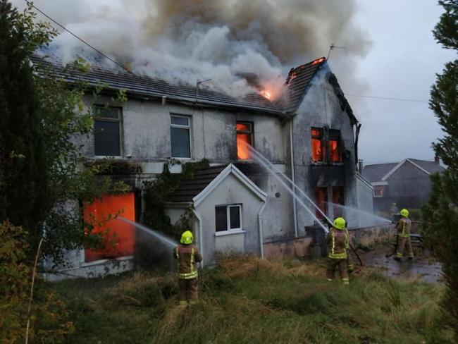 The former Y Boblen in Cwmllynfell was gutted by the fire. Picture: Amman Valley fire station