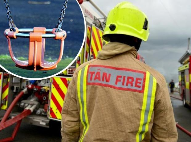 Amman Valley firefighters were called to resuce a young woman from a child's swing