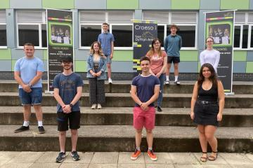 Pupils celebrate A-level success at Ysgol Dyffryn Aman