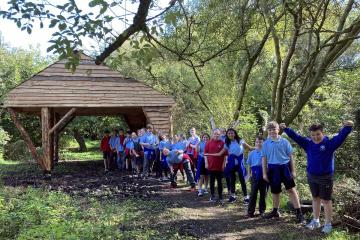 Woodland charity build outdoor classroom for Cross Hands school