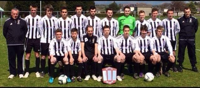 Colin Haines is pictured with 2015 Carmarthenshire League Division Two champions Ammanford Reserves.