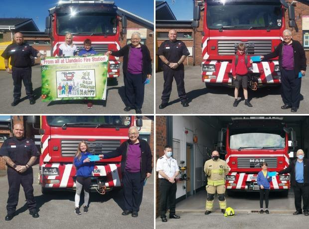 Easing of restrictions sees Llandeilo fire crew present competition winners with prizes