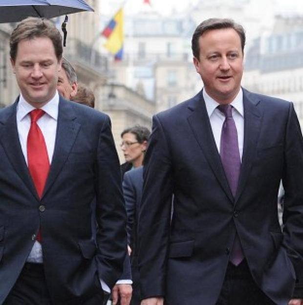 Prime Minister David Cameron and Deputy Prime Minister Nick Clegg agreed to work in coalition until May 2015