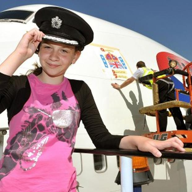 Eleven-year-old Katherine Dewar's Diamond Jubilee design has been placed on a British Airways 747 jet