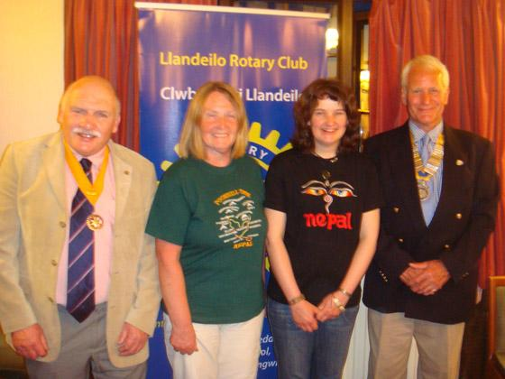 HIMALAYAN TREK: Cath Lovatt and Anneka Batkin are pictured with senior Rotary vice-president Richard Hughes (left) and president David Owen.