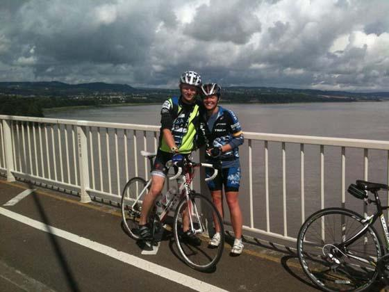 WEYMOUTH OR BUST! Adrianne Ashton and Andrew Cleverly pause for a breather on the first Severn Bridge during their marathon cycle ride for charity.