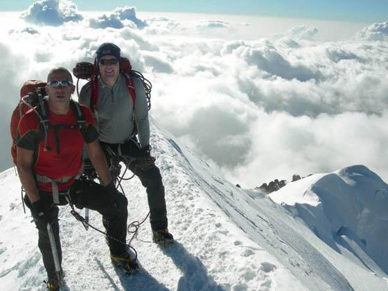 TOP OF THE WORLD: Carwyn Templeton and Steve Mackey at the summit of Mont Blanc. Pic courtesy of Carwyn Templeton.