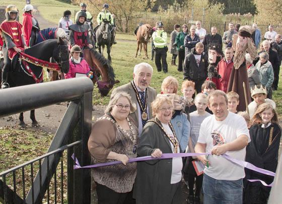TRAIL SPOTTERS: Cwmaman councillor Brian Twomey officially declares the Twrch Trwyth trail open.