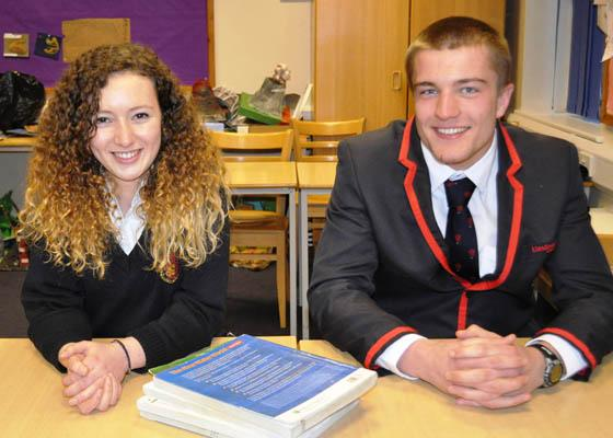 OXBRIGE HONOUR: Llandovery College pupils Olwen Wilson and Chris Williams have received offers from Cambridge and Oxford.