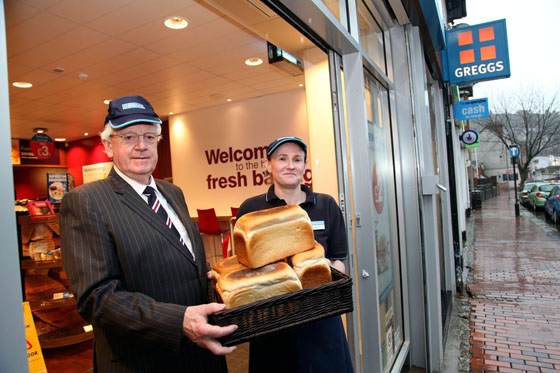NEW CHAPTER: Council Leader Cllr Ali Thomas pictured outside Greggs in Herbert St