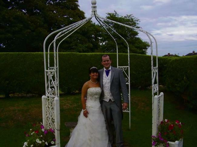 WEDDING BELLE: Tumble couple Dale Flear and Jane Phillips were married at the Ashburnham Hotel, Llanelli on Friday, August 23.
