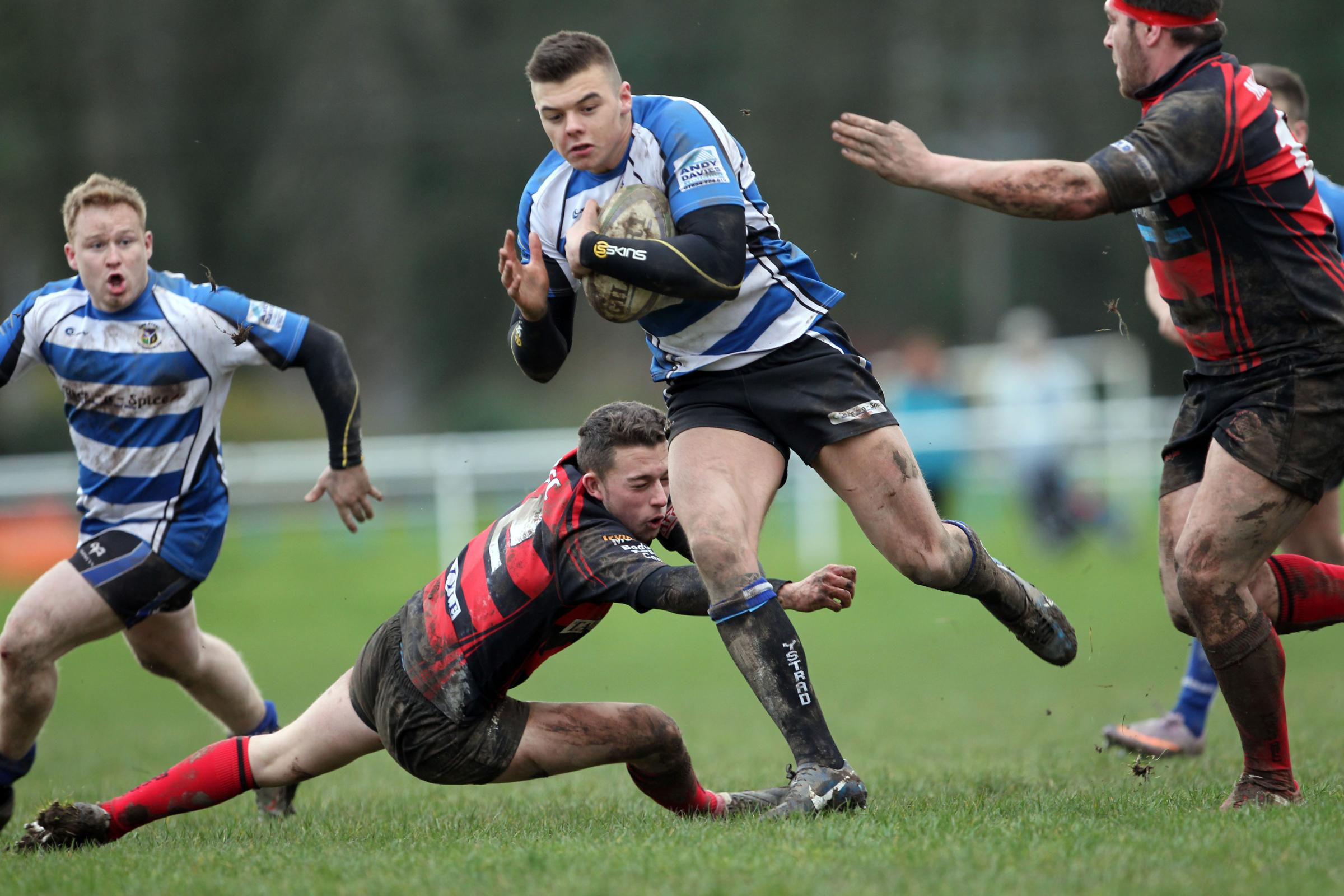 WINNING CHARGE: Kylum Austin breaks out to score Ystrad's winning try. Pic: Rileysportsphotography.com