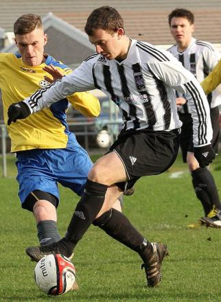 GOAL-GETTER: Matthew Fisher marked his return to Ammanford colours with four goals. Pic: SDD
