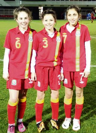 GOLDEN GIRLS: Ammanford AFC TRIO Nia Rees, Ffion Morgan and Ella Roberts were selected for their first game for the Welsh U14s squad last week. Ffion, who captains Ammanford U14s, was also named national skipper. All three are part of the West Wales footb