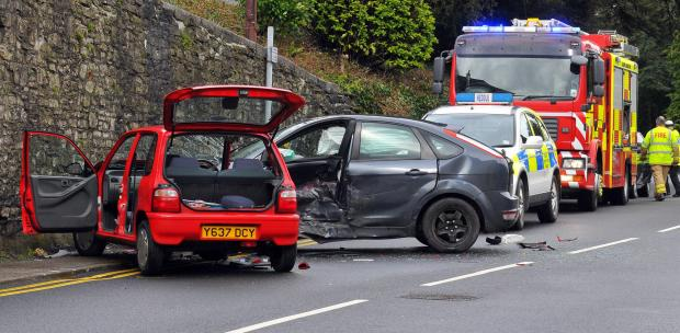 FATAL SCENE: The aftermath of Sunday morning's crash in Llandeilo. Picture: Mark Davies.