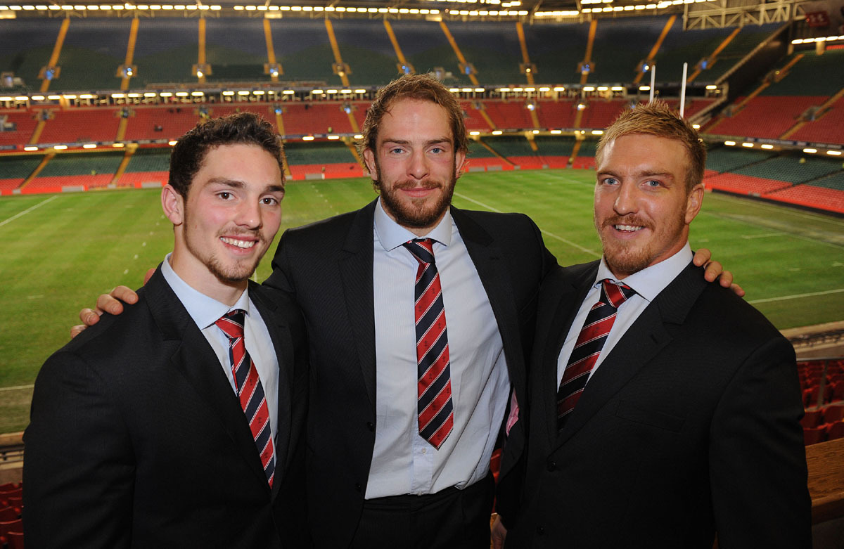 SCHOOL TIES: Former Llandovery College students George North, Alun Wyn Jones and Andy Powell. Pic: Huw Evans Picture Agency