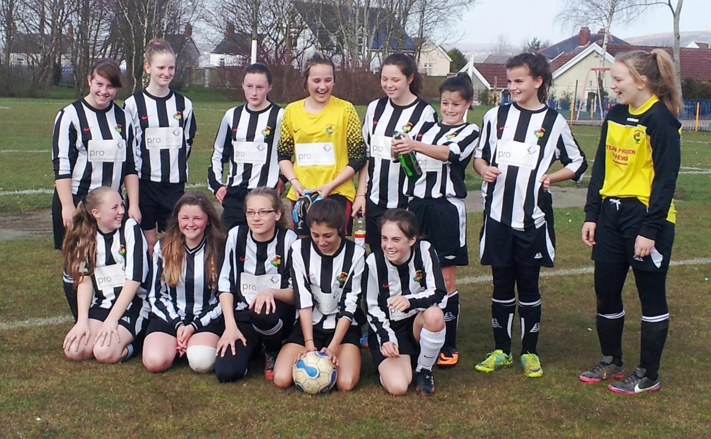 GIRLS ON TOP: Ammanford Girls U14s claimed the league title thanks to a magnificent 15-1 away win at Tal-y-Coppa.