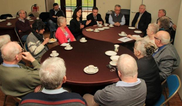 ROUND TABLE: Caroline Flint makes a point during her discussion with members and guests.