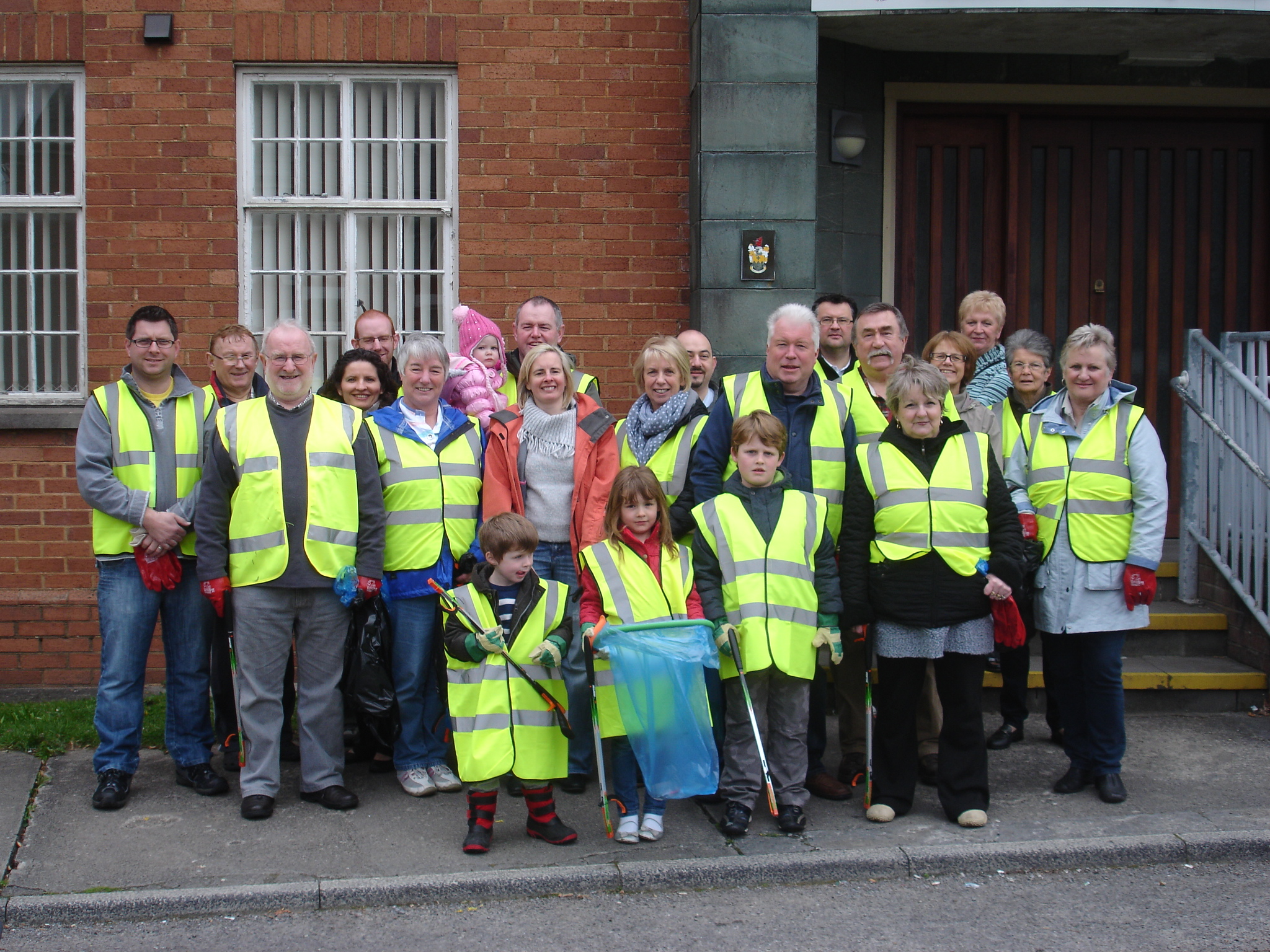 TEAMING UP: Ammanford councillors and Ammanford Evangelical Church joined forces for the litter pick.
