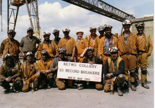South Wales Guardian: RECORD-BREAKERS: This team of Betws miners celebrate a coal production record.