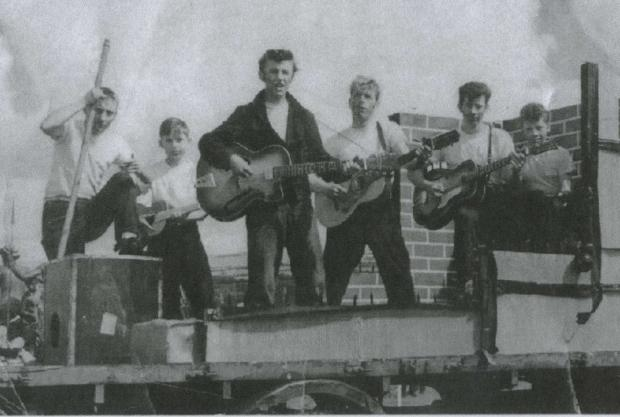 THAT'LL BE THE DAY: Providing the musical entertainment at the 1957 Ammanford Carnival were rock 'n' rollers Abbe Naylor, Nigel Barber. Terry Grove, Arfon Jones, Jeff Benger and Ken Burton.