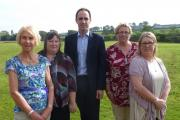 TACKLING ABUSE: Police and Crime Commissioner Christopher Salmon marks the new domestic abuse service with Jan Stoneman and Sara Humphreys, of Hafan Cymru, Annette Brenchley, of Grwp Gwalia, and Natalie Hardess, of the Carmarthenshire Domestic Abuse Forum