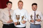 Amman Utd First Team Player of the Year and top try scorer Jonathan Bevan, is flanked by Players Player Joel Foster, who also shared the Supporters Player of the Year award with Sean Mangan. Pic: SDD