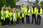 INTERROGATION SQUAD: Accompanying the pupils from Drefach School speaking to the speedsters were Carmarthenshire Council's Road Safety Officer Rhys John-Howes; PCSO Beth Thomas; PCSO Sharee Treharne; PC Abel, PC Lewis, and PC Jenkins.