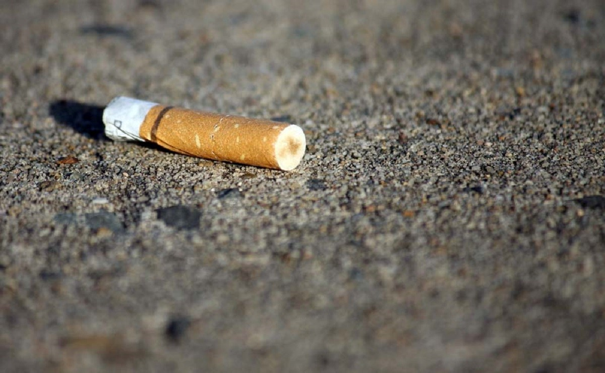 Officers issued the fine after the woman dropped the cigarette butt