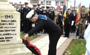 South Wales Guardian: A wreath is laid at a Remembrance Day service at Crosshands Memorial Gardens.