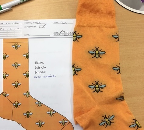 Manachester Bee socks have been created by Corgi Hosiery in Ammanford