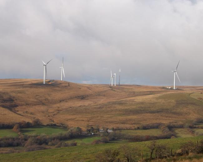 Mynydd y Betws wind farm had not been seen in operation for six weeks. Pic: Sandy Gerrard