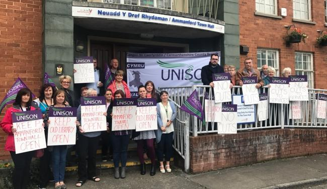 Unison and Labour have teamed up to save the Parc Amanwy building in Ammanford