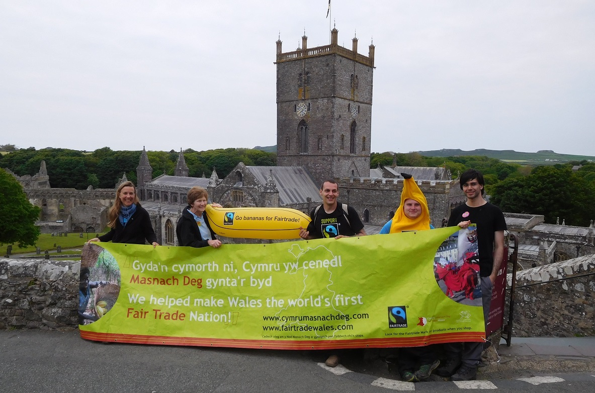 Ammanford Fairtrade campaigners pictured at St David's Cathedral .