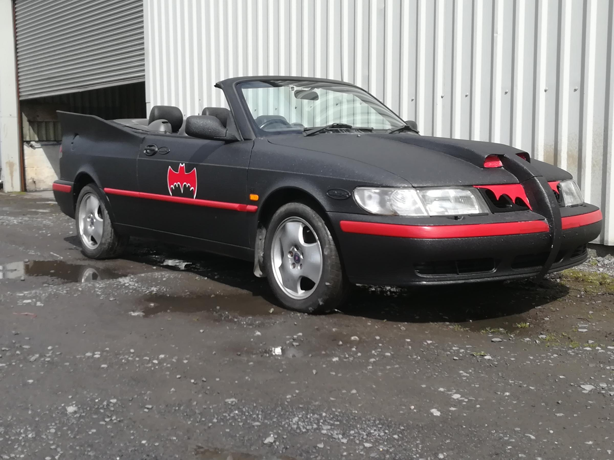 The pair converted a banger into a batmobile for the trip to Benidorm