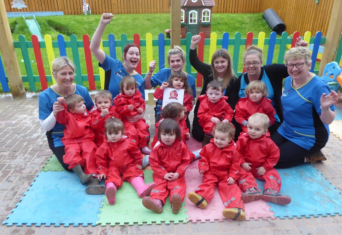 Pupils and staff celebrate at Twts Twyi Nursery.
