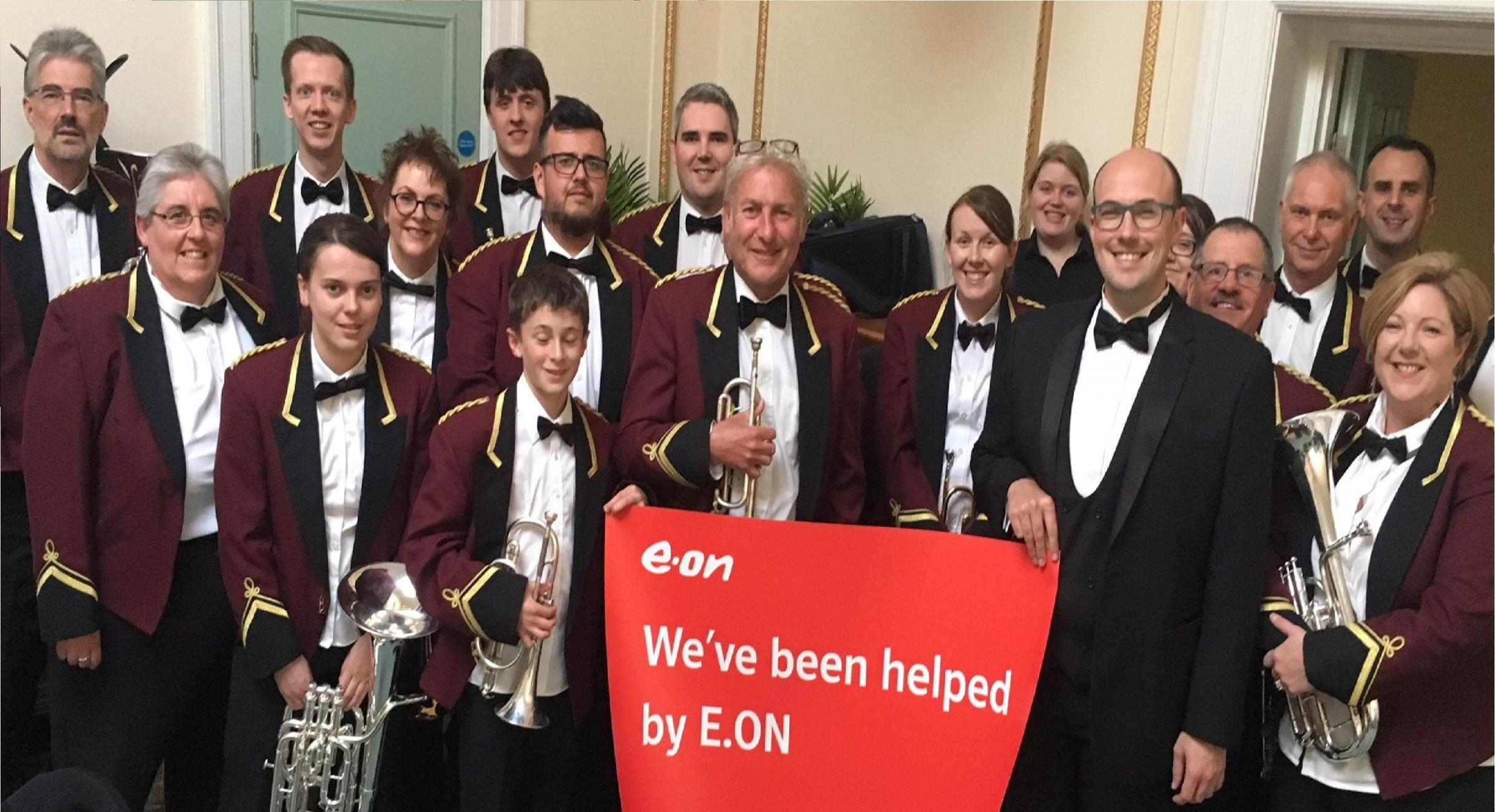 Pontarddulais Town Band celebrate recieving a grant from E.ON's Energising Communitieis Fund