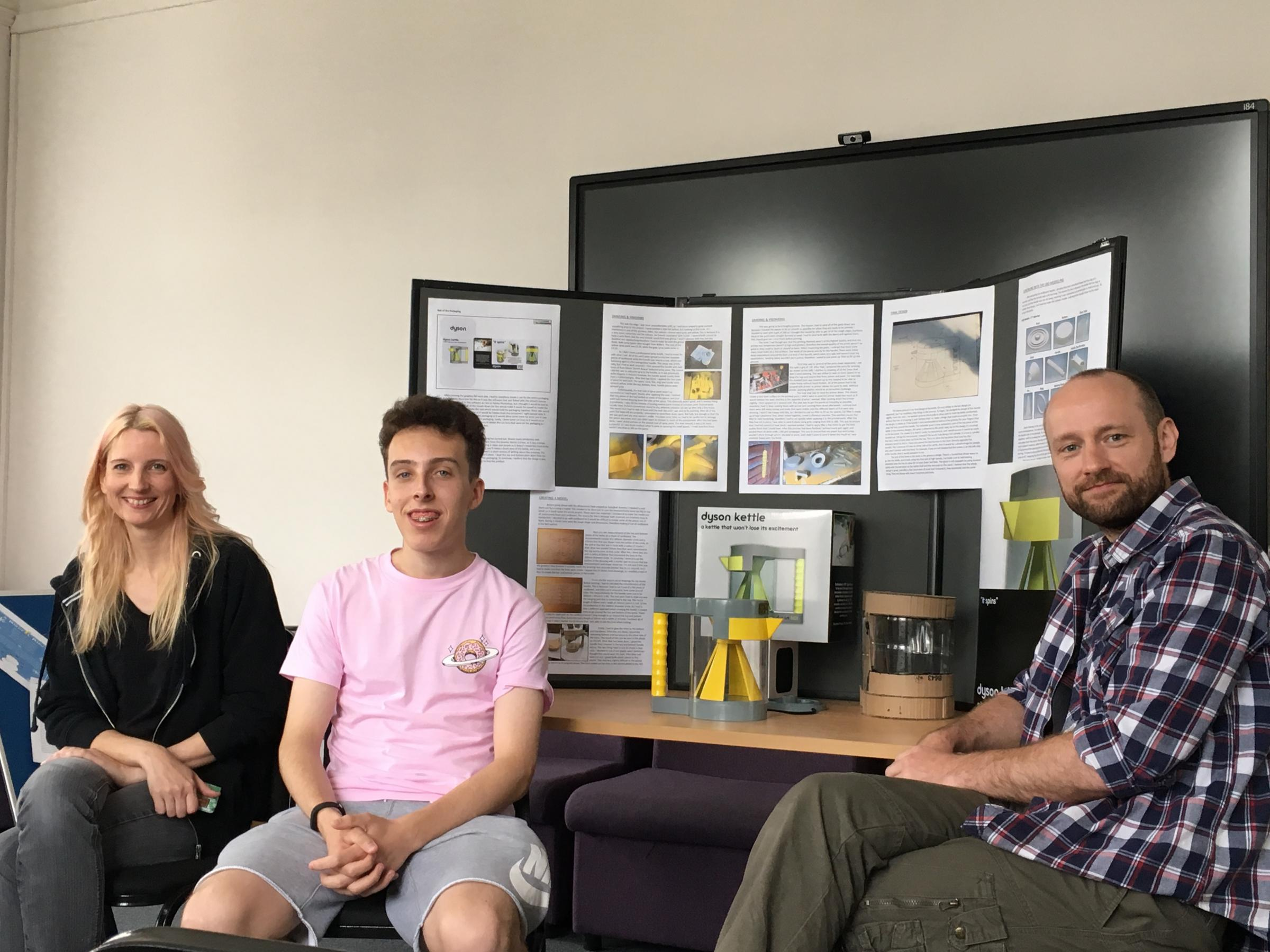 Benjamin Digby, with Rob Venus, Community Development Officer at Cwmaman Town Council, and Zoe Ross from Amman Valley Makerspace