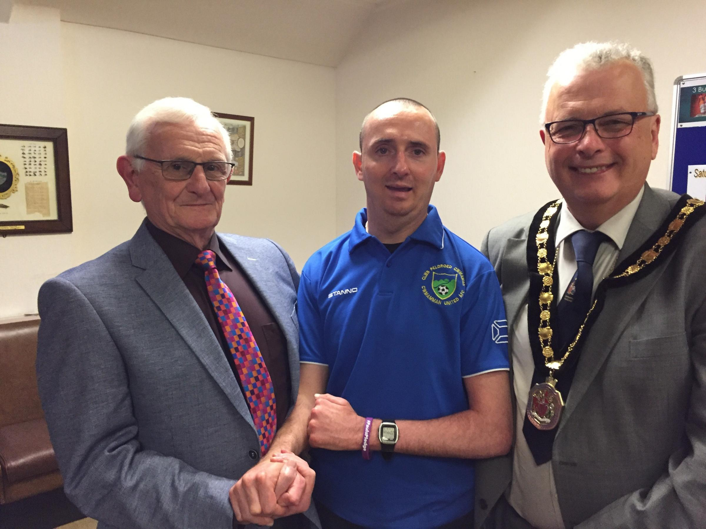 Cllr.  David Jenkins, Paul Pugh (Former Cwmamman Utd Player / Captain and Kevin Madge Vice Chair of Carmarthenshire County Council.