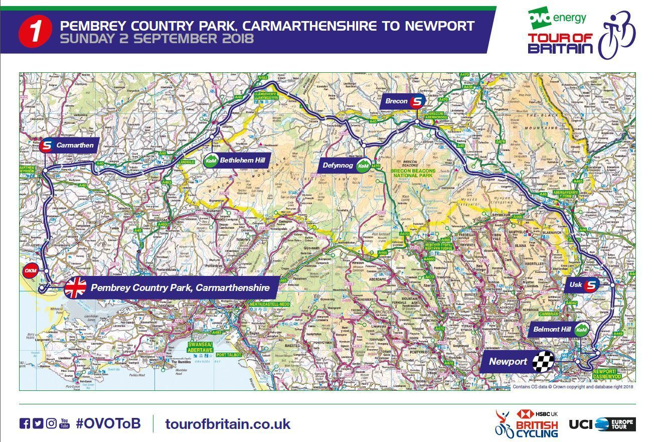 The route through Carmarthenshire of stage one of the 2018 OVO Energy Tour of Britain (Image supplied by the race organisers)