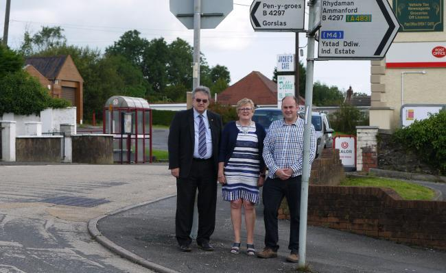 Late Councllor Alun Davies, Councillor Hazel Evans and Councillor Carl Harris at Capel Hendre Square