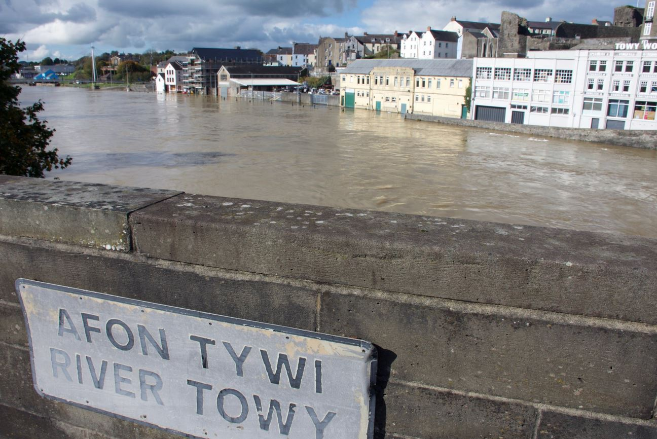 An appeal has been launched by Carmarthenshire County Council and Xcel Furniture to help those who have been affected by the recent flooding. Pic: @TheTowy on Twitter.
