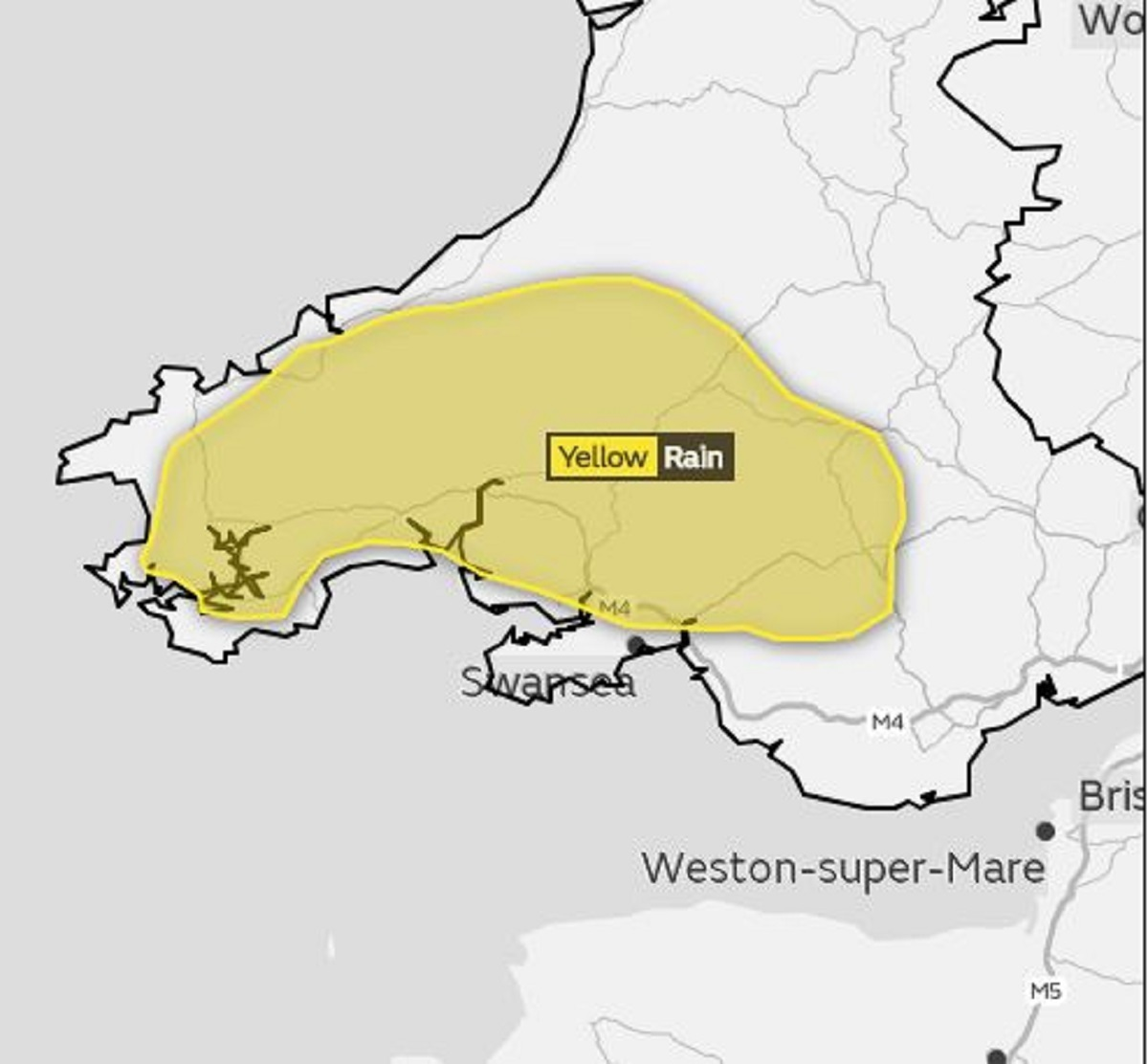 A yellow weather warning has been issued for Wales.