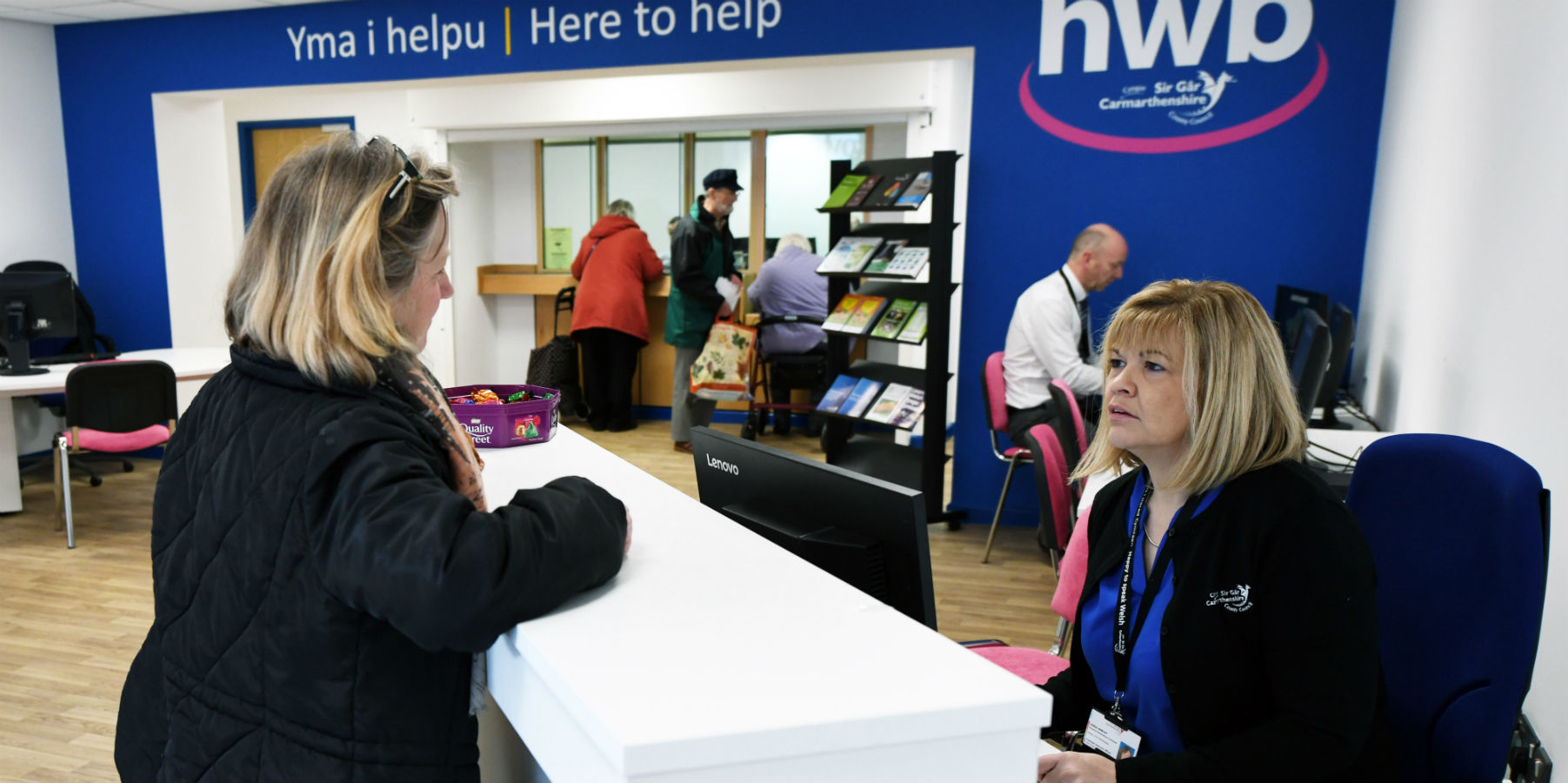The customer service Hwb opened in Ammanford last year