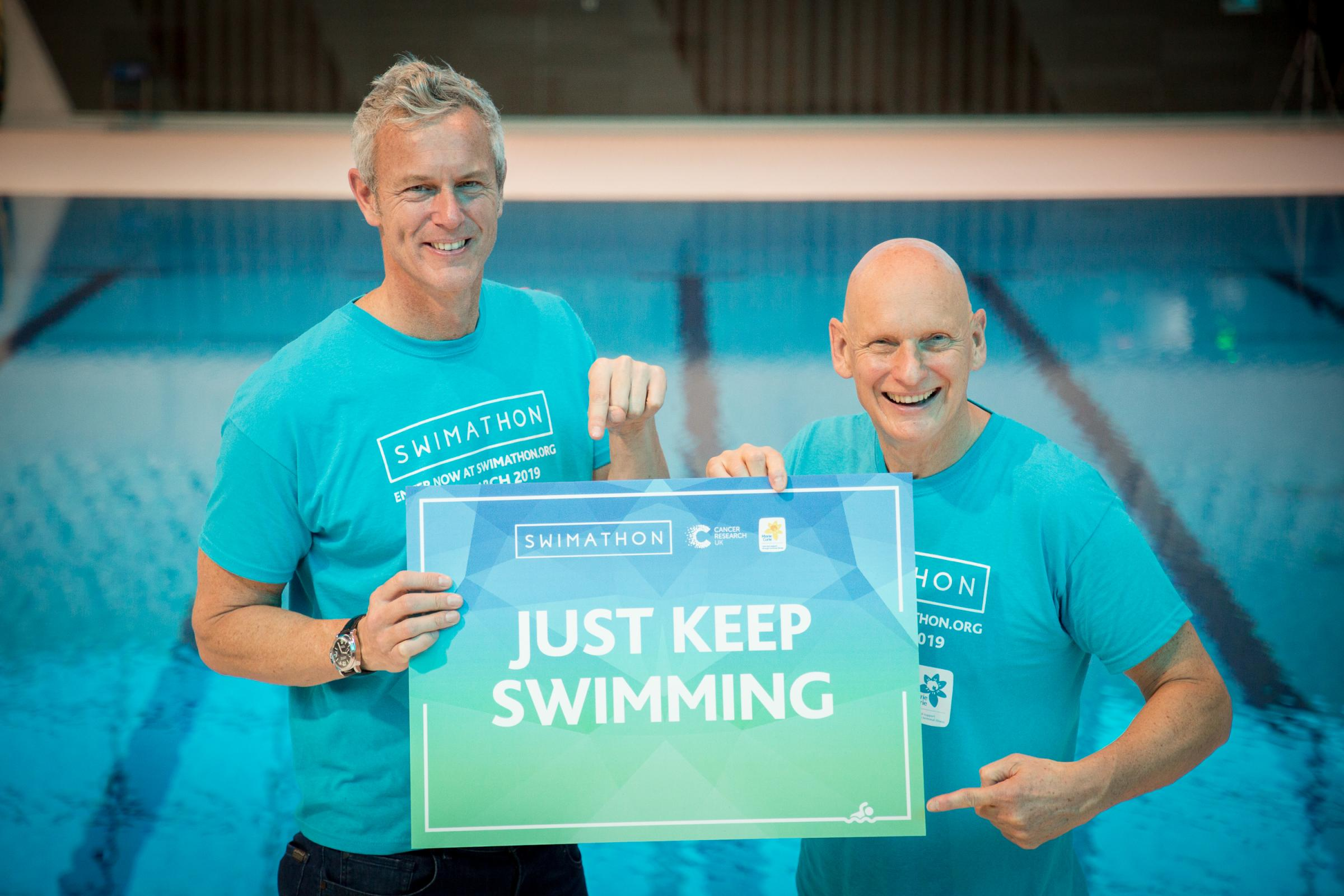 Mark Foster and Duncan Goodhew are encouraging people across Carmarthenshire to sign up to Swimathon